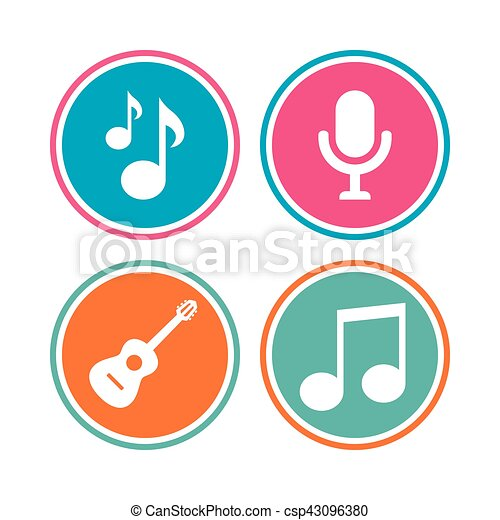 Music icons. Microphone, Acoustic guitar. - csp43096380