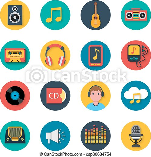 Music icons set mobile round solid  - csp30634754