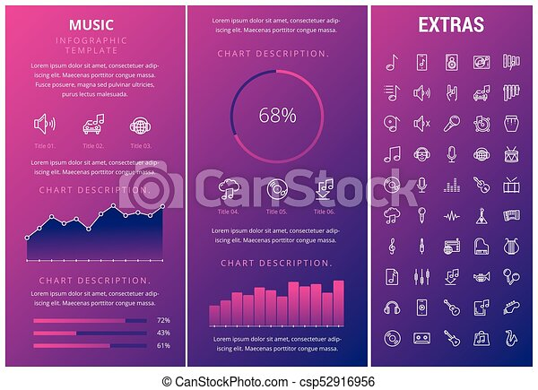 Music infographic template, elements and icons