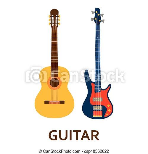 music instrument icon guitar vector flat illustration vector rh canstockphoto com