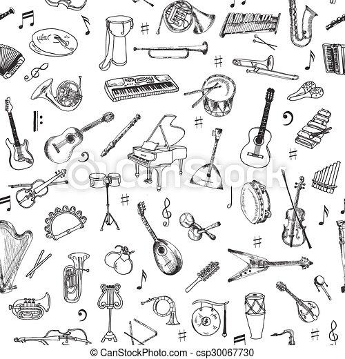 Music Instruments Background - Seamless Pattern - vector - csp30067730