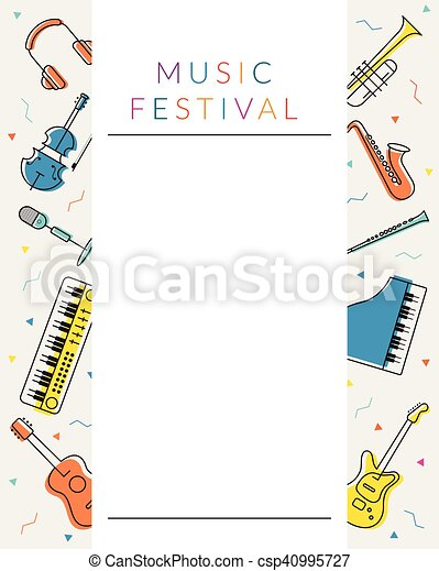 Music instruments objects poster frame, line design. Festival, event ...
