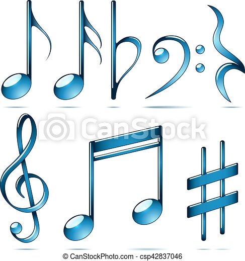 Music Notation Blue Glass Symbols Music Notation Blue Glass Symbols