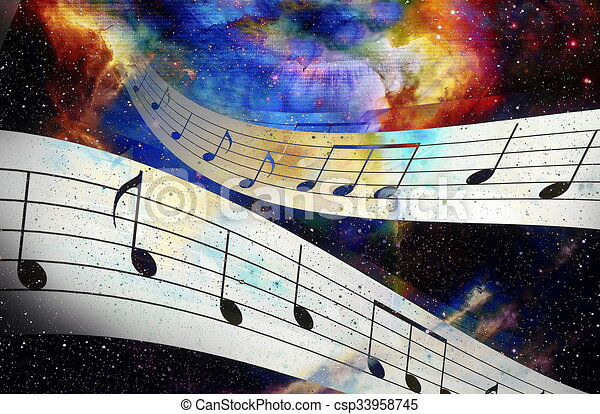 music note and Space with stars  abstract color background  Music concept