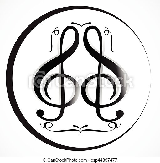 Music Note Background With Different Music Symbols Vectors