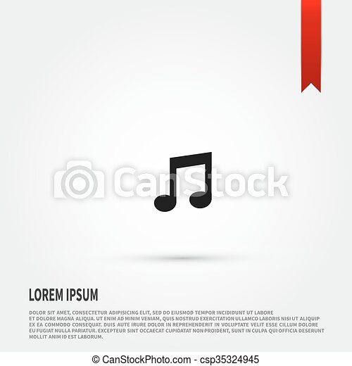 Music Note Icon Flat Design Style Template Music Note Icon