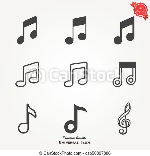 Set of musical notes on a pentagram Royalty Free Vector