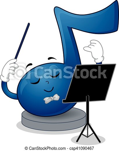 music note mascot conductor mascot illustration of a blue clip rh canstockphoto com conductor clipart free train conductor clipart