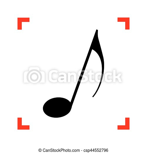 Music note sign. Black icon in focus corners on white background - csp44552796