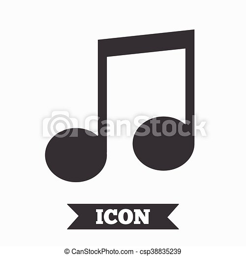 Music Note Sign Icon Musical Symbol Graphic Design Element Flat