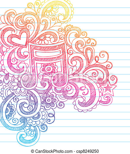 Music Note Sketchy Doodles Vector - csp8249250