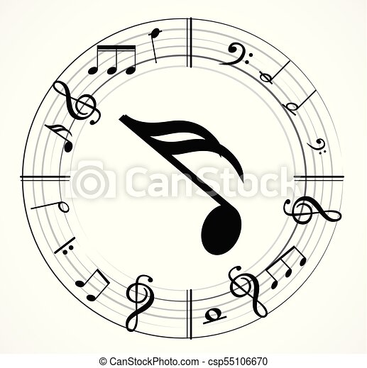 Music Note With Different Music Symbols Vectors Illustration