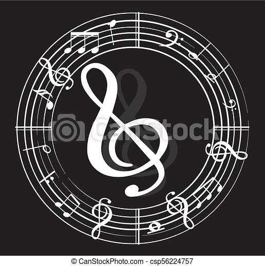 Music note with music symbols