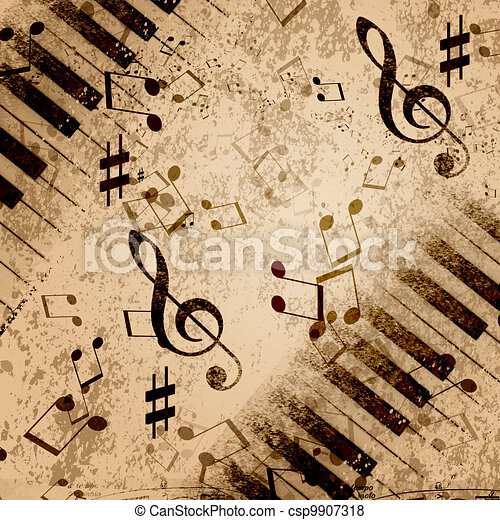 Music notes background paper background with note sings on stock music notes background csp9907318 voltagebd Image collections