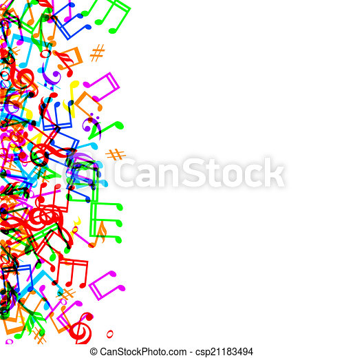 colorful music notes border frame on white background eps vectors rh canstockphoto com music border clipart free music border clip art images
