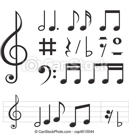 Music Notes Set Of Basic Black Notes And Signs Isolated On The