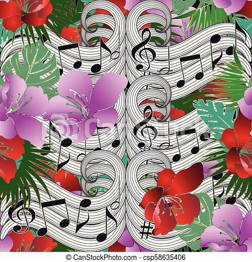 Music Notes Floral Vector Seamless Pattern Beautiful Abstract