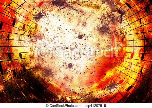 music notes in space with stars  abstract color background  Music concept