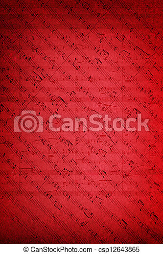 Music notes on fabric texture background - csp12643865
