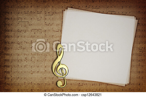 Music notes on fabric texture background with copy-space - csp12643821