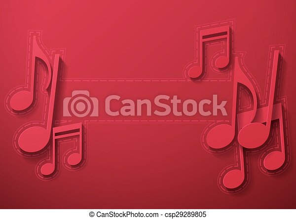 Music Notes on Maroon Background - csp29289805