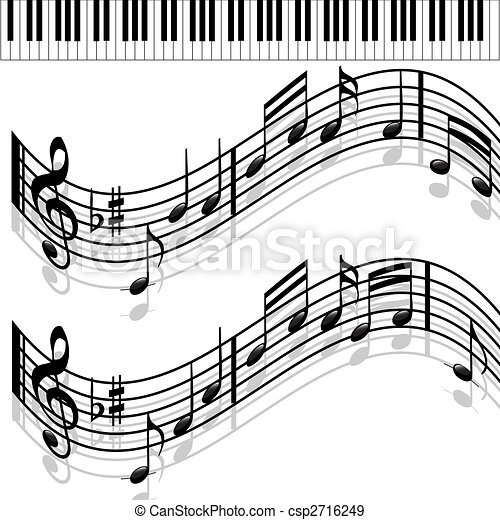 Dessin De Piano music notes-piano-melody. musical notes and piano on a solid white