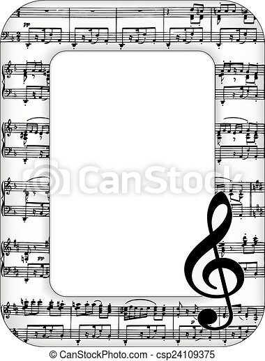 music notes picture frame csp24109375 - Music Note Picture Frame