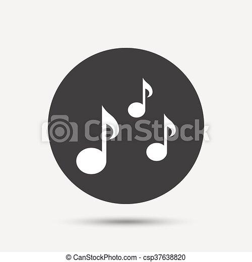 Music Notes Sign Icon Musical Symbol Gray Circle Button Vector