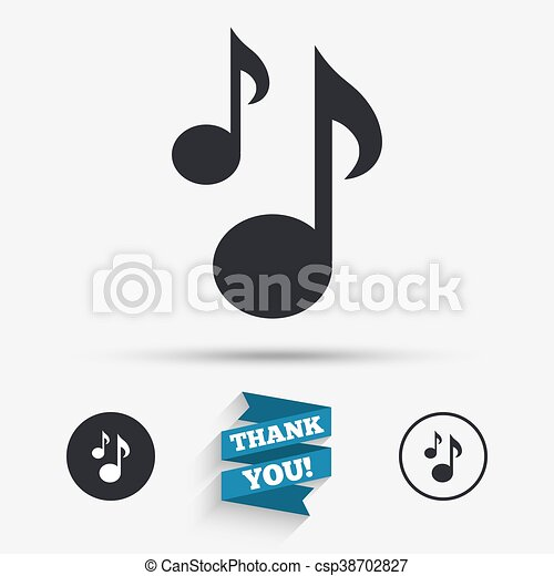 Music Notes Sign Icon Musical Symbol Flat Icons Buttons Vector
