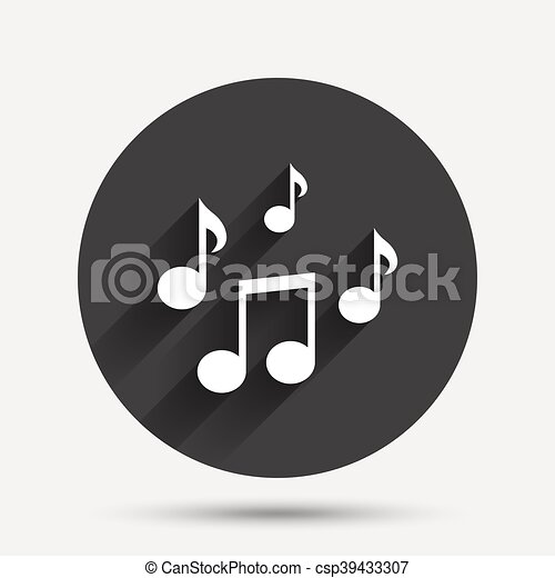 Music Notes Sign Icon Musical Symbol Circle Flat Button With