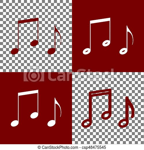 Music Notes Sign Vector Bordo And White Icons And Line Icons On