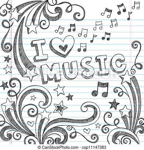 Music Notes Sketchy Doodles Vector - csp11147383