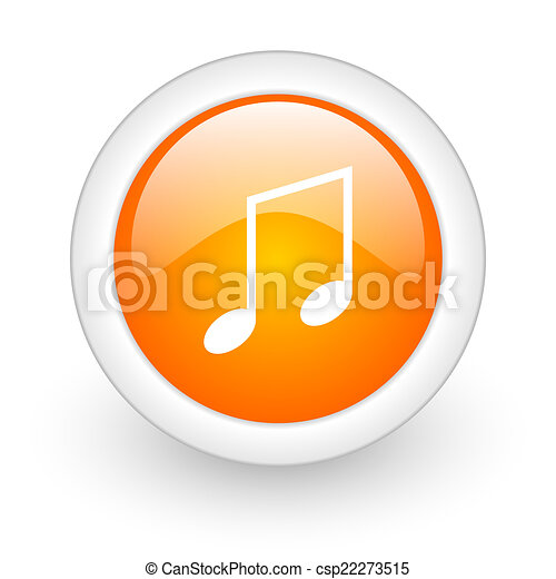 music orange glossy web icon on white background - csp22273515