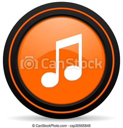 music orange glossy web icon on white background - csp30565848