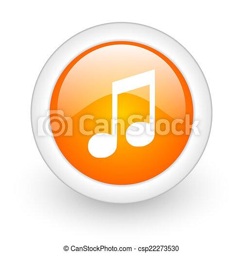 music orange glossy web icon on white background - csp22273530