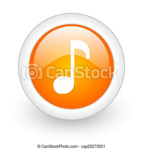 music orange glossy web icon on white background - csp22273551