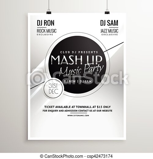 Music party flyer template layout design for new year.