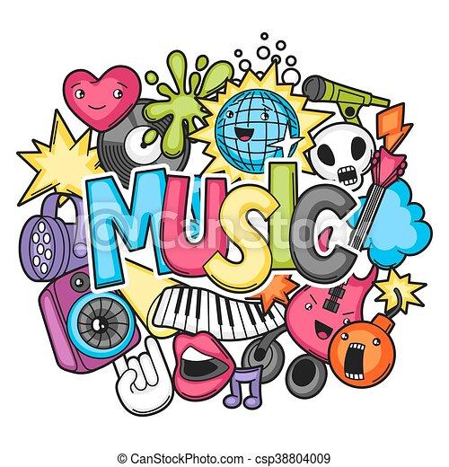 Music Party Kawaii Design Musical Instruments Symbols