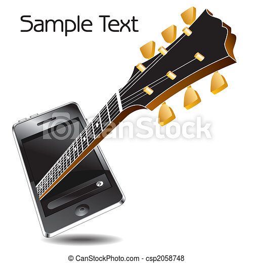 music phone with a guitar - csp2058748