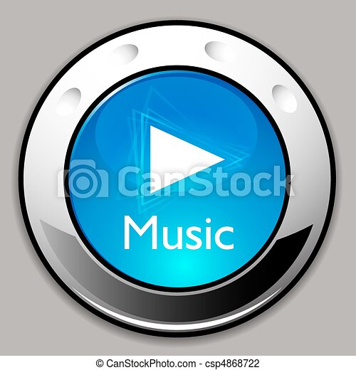Music Player Detailed Chrome Button