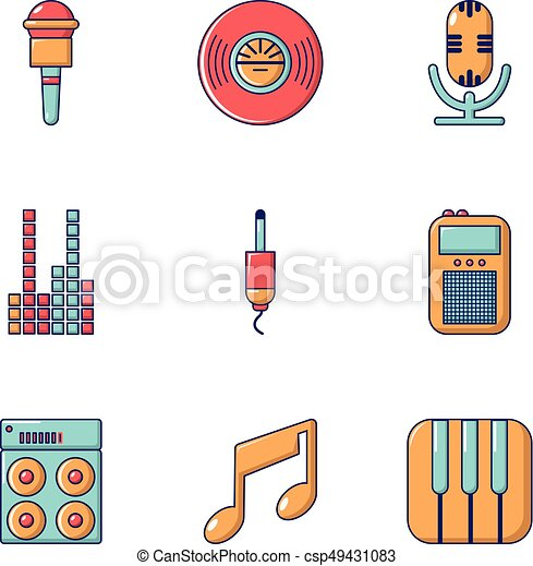 Music player icons set, flat style  Music player icons set