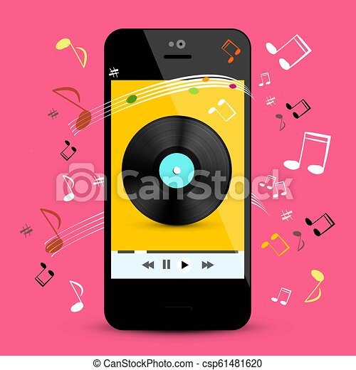 Music Player on Smartphone with LP Disc and Notes on Pink Background   Vector Pop Music Playlist on Cell Phone Application Symbol