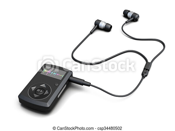 Music player with headphones on a white background  3d rendering
