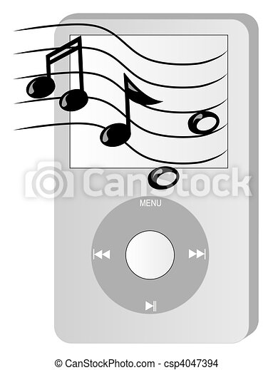 music player with musical notes  - csp4047394