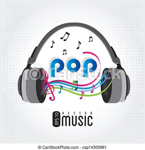 Music Pop Over Gray Background Vector Illustration