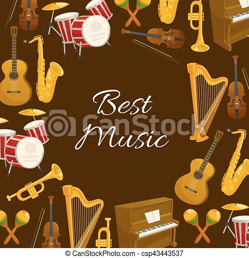 Music poster with musical instrument round frame - csp43443537