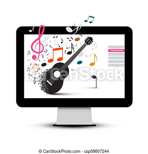 Music Project with Guitar and Notes on Computer Screen - csp58607244
