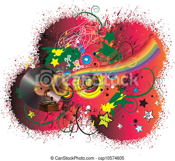 Music rainbow and abstract background - csp10574605