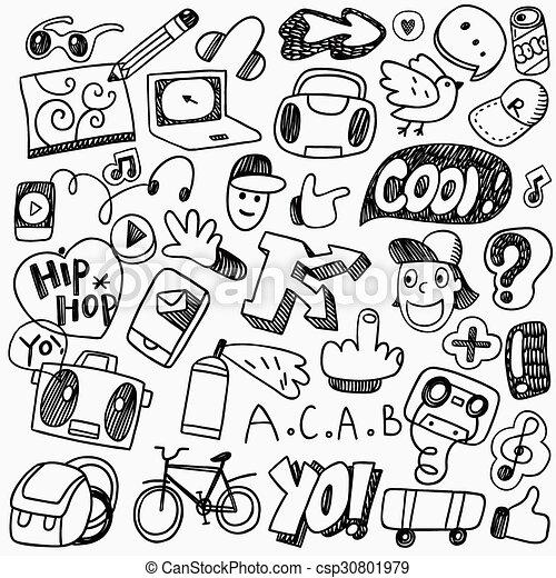 music rap graffiti doodles music rap boy graffiti set icons in