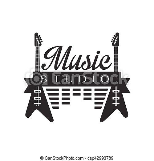 Music Record Studio Black And White Logo Template With Sound Recording Retro Elements Silhouettes
